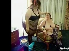 young fatty ties auntie up and breast feeds her