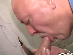 hairy daddy at the glory hole