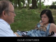 hot brunetted fucked by gross old dude