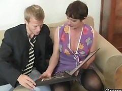 her bushy old cunt gets screwed by inflexible dick