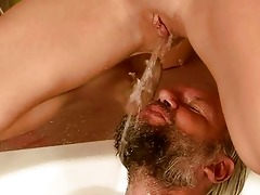 old man and girl pissing and fucking