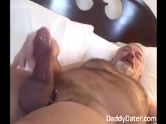 hairy hung daddybear grandpa blows his load on