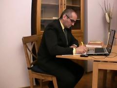 elderly teacher gratified by marvelous legal age