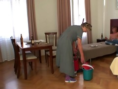 cleaning woman gets her vagina filled with hard