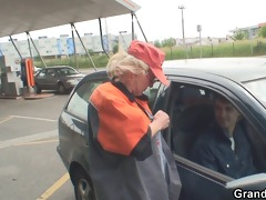 two chaps pick up sexy grandma and screw outside