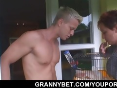 nice-looking neighbour granny gets banged by hung