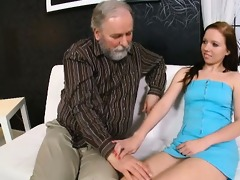 getting down on her knees in front of her old man
