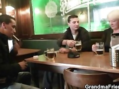 hot threesome with absolutely drunk granny