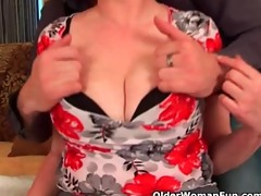 busty grandma in nylons gets her hairy pussy