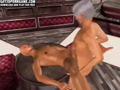horny 3d cartoon hunk getting screwed by an old