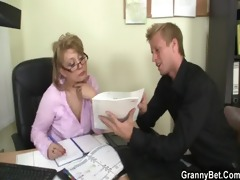 hawt office sex with older floozy