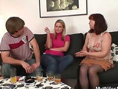 her old mama sucks and rides his cock
