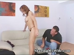 sexy redhead feeds her twat to guy