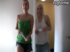 sister and blond busting you jacking off jo