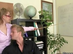 office bitch swallows his big dong