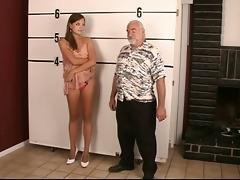arrested juvenile brunette hair undresses for old