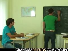 two chaps fuck granny teacher