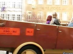 juvenile chap bangs granny tourist