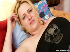 large tits amateur milf plays with scones and