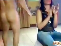girls sucking ribald penis of strip dancer