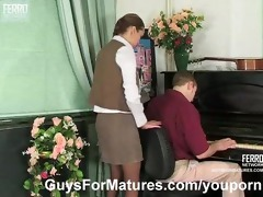 sexy mother i gives some piano lesson