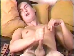 youthful guy sucks his own pounder while being