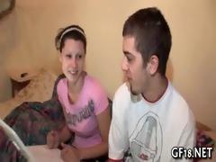sweet-looking teen girl takes hard shlong