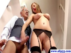 young euro slut giving oral sex to old stud