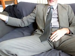 sexy bearded daddy after work costume and tie