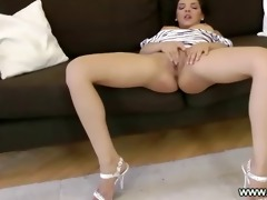 concupiscent young beauty gives bj to old man